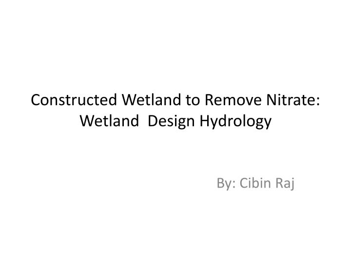 Constructed wetland to remove nitrate wetland design hydrology