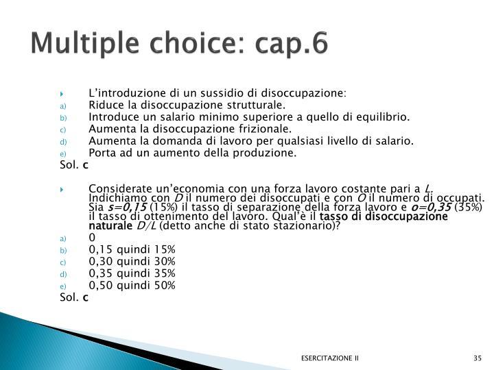 Multiple choice: cap.6