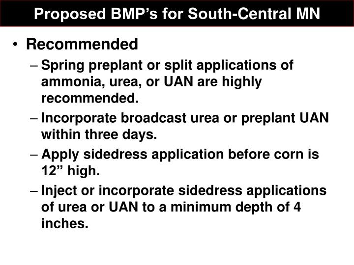 Proposed BMP's for South-Central MN