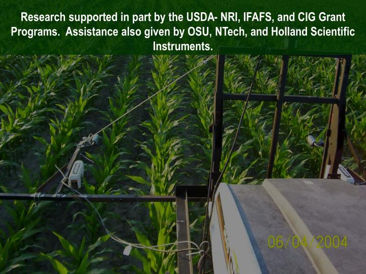Research supported in part by the USDA- NRI, IFAFS, and CIG Grant Programs.  Assistance also given by OSU,