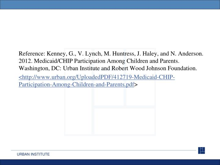 Reference: Kenney, G., V. Lynch, M. Huntress, J. Haley, and N. Anderson. 2012. Medicaid/CHIP Partici...