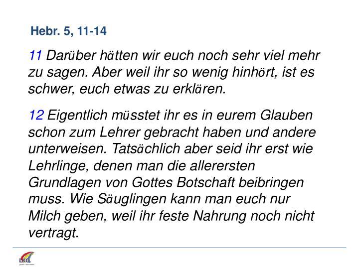 Hebr. 5, 11-14