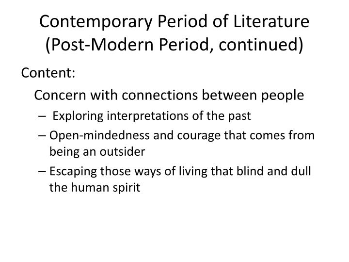 Contemporary Period of Literature