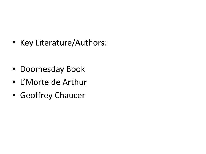 Key Literature/Authors: