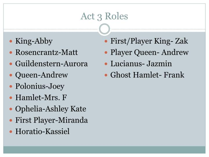 Act 3 Roles