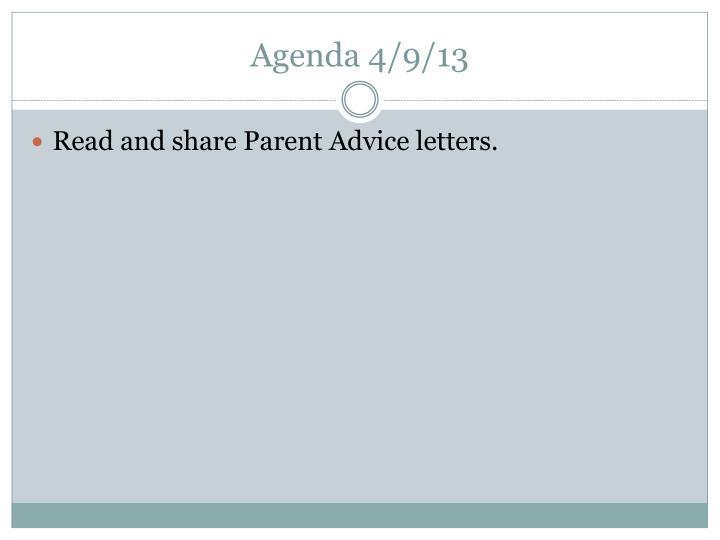 Agenda 4/9/13
