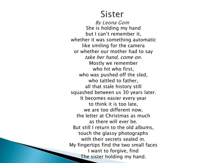 Sister by leona gom