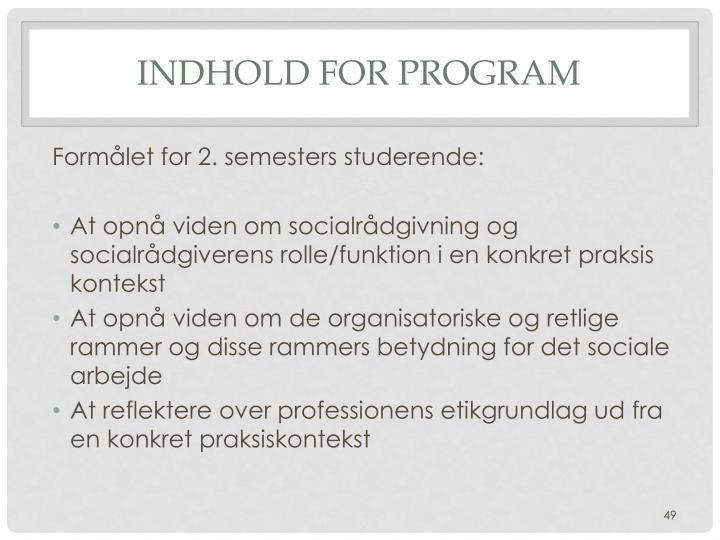 Indhold for program