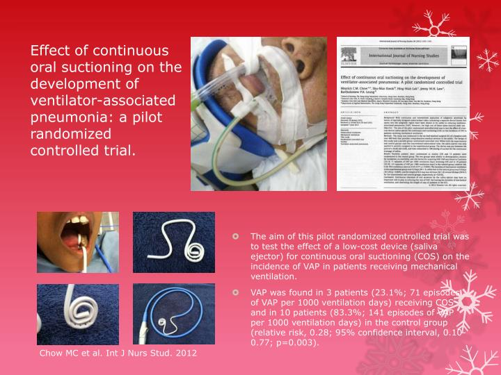 Effect of continuous oral suctioning on the development of ventilator-associated pneumonia: a pilot randomized controlled trial