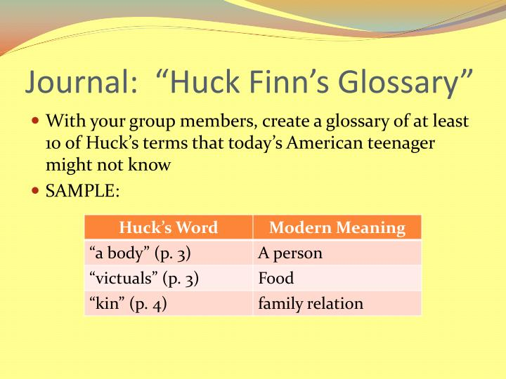 "Journal:  ""Huck Finn's Glossary"""