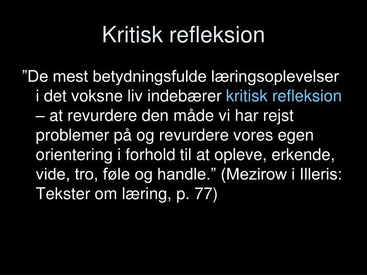 Kritisk refleksion