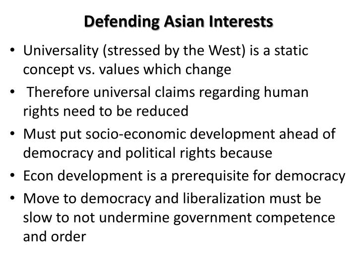 Defending Asian Interests