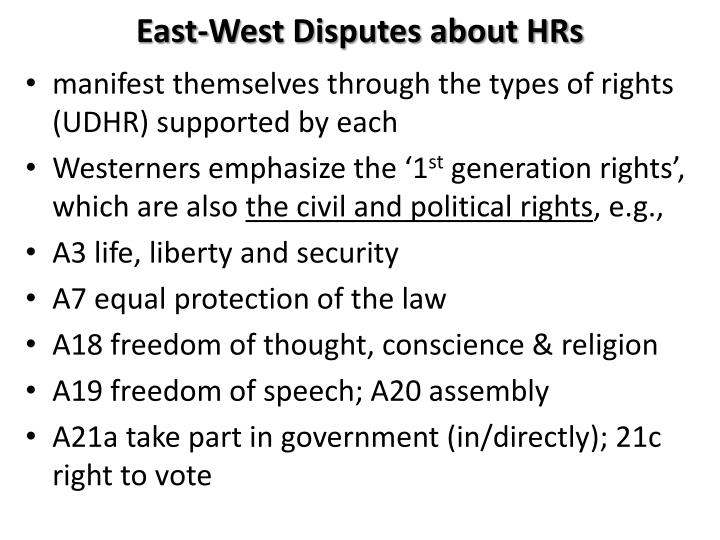 East-West Disputes about