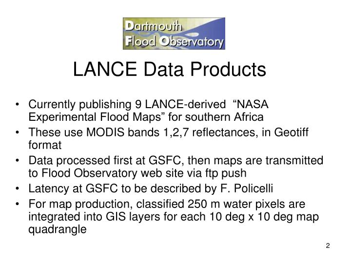 Lance data products