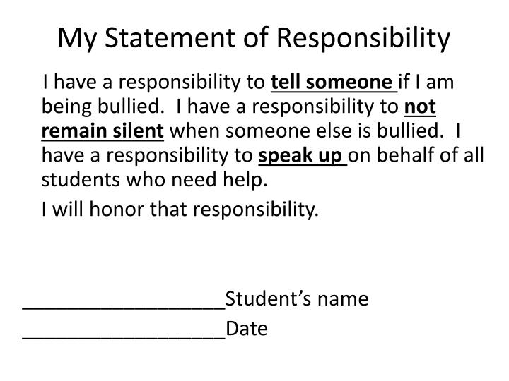 My Statement of Responsibility