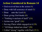 action considered in romans 14