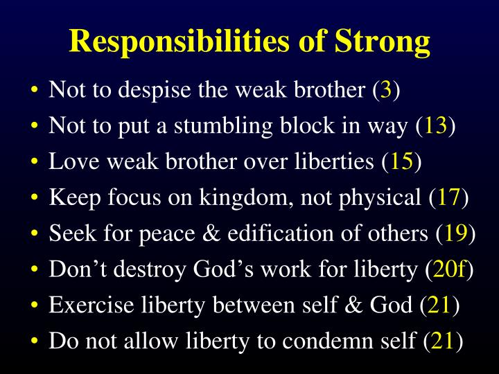 Responsibilities of Strong