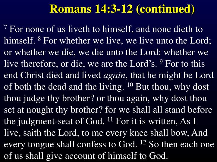Romans 14:3-12 (continued)