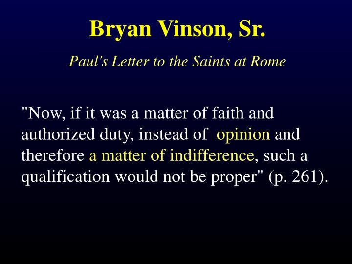 Bryan Vinson, Sr.