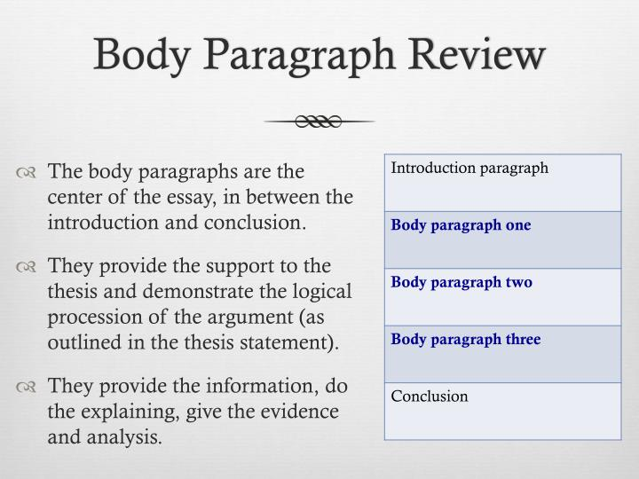 Body paragraph review