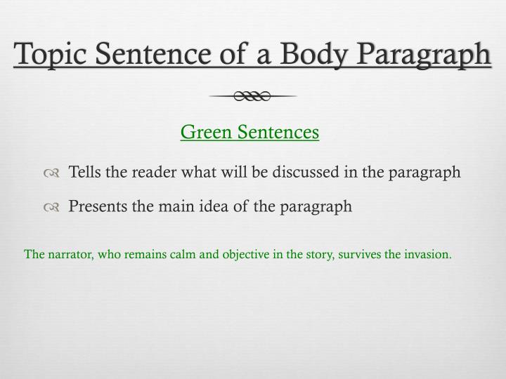 Topic Sentence of a Body Paragraph