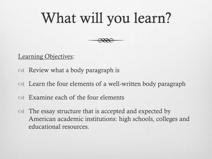 What will you learn?