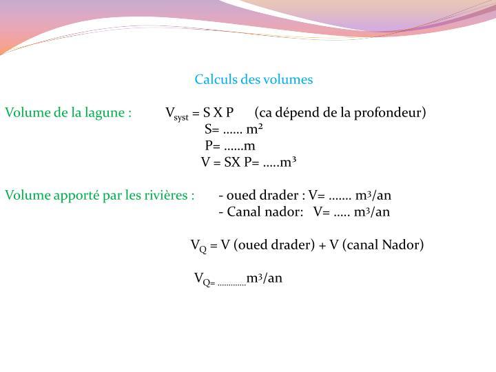 Calculs des volumes