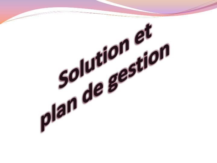 Solution et plan de gestion