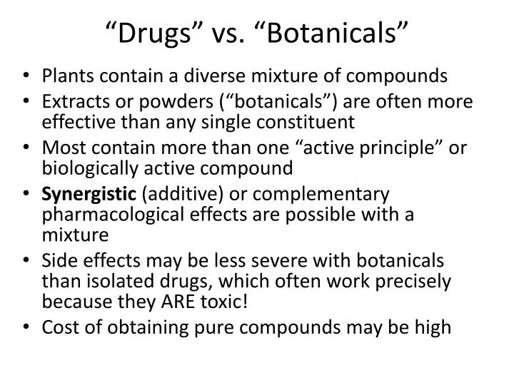 """Drugs"" vs. ""Botanicals"""