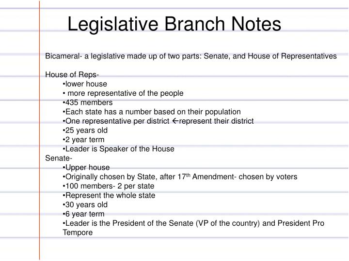Legislative Branch Notes