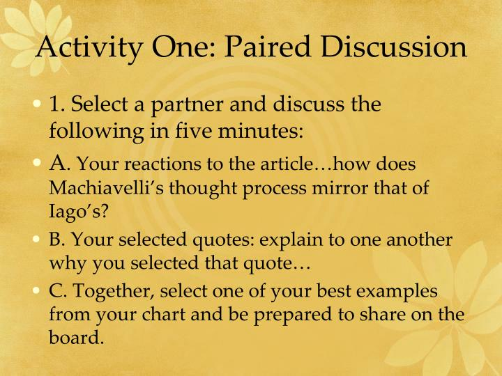 Activity One: Paired Discussion
