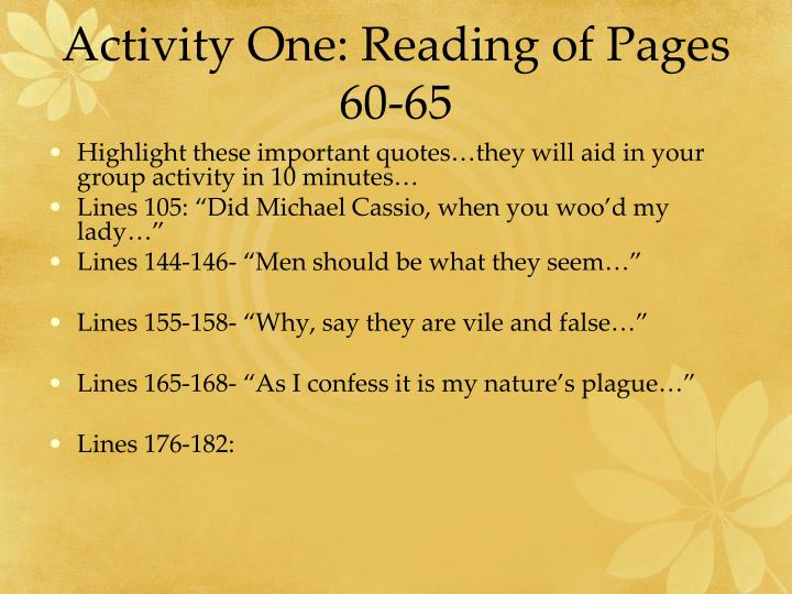 Activity One: Reading of Pages 60-65