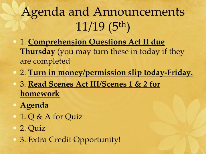 Agenda and Announcements 11/19 (5