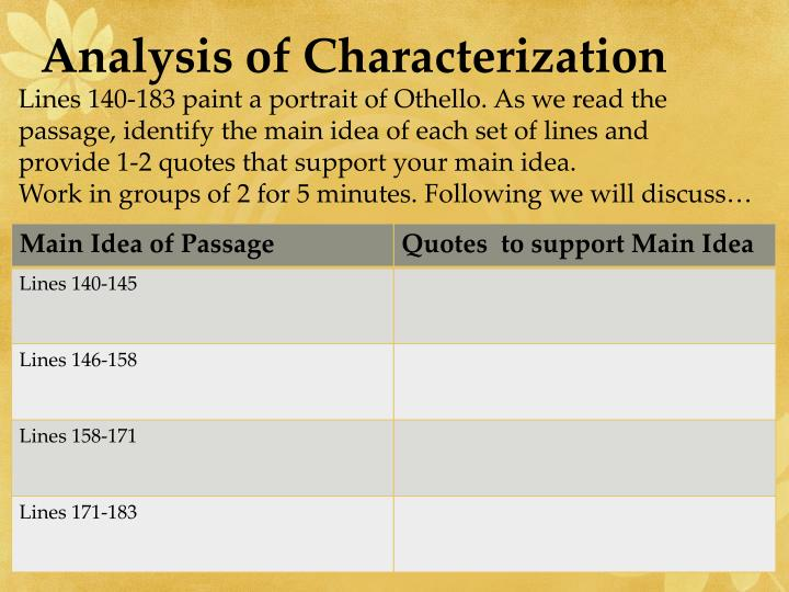 Analysis of Characterization