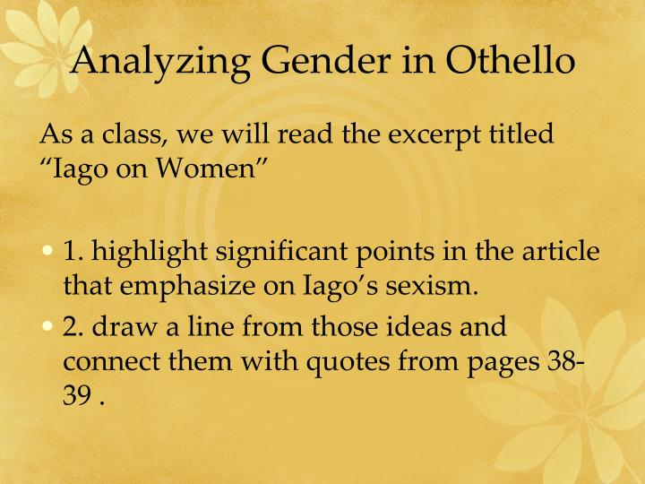Analyzing Gender in Othello
