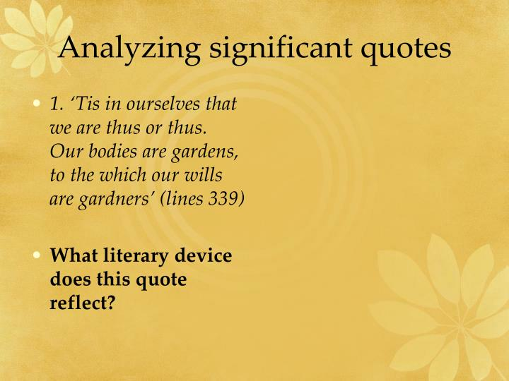 Analyzing significant quotes