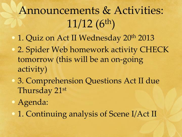 Announcements & Activities: 11/12 (6