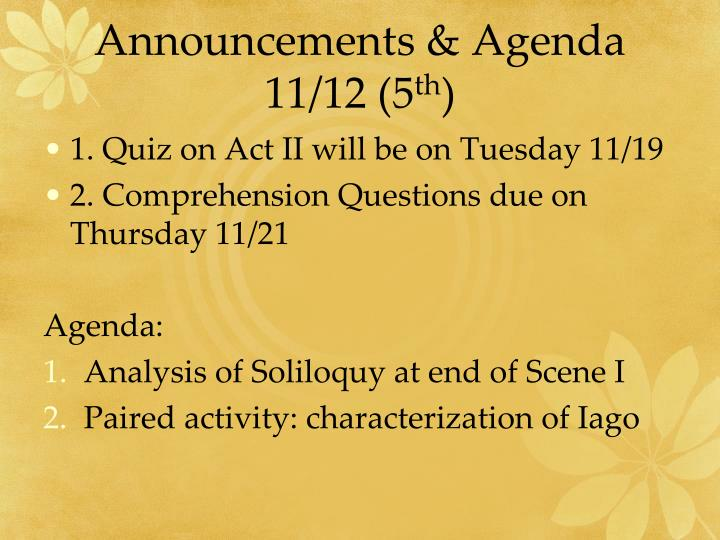Announcements & Agenda 11/12 (5