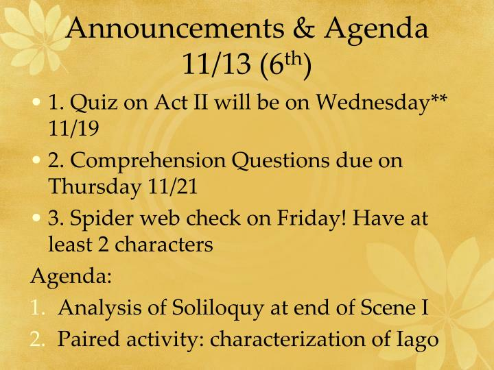 Announcements & Agenda 11/13 (6