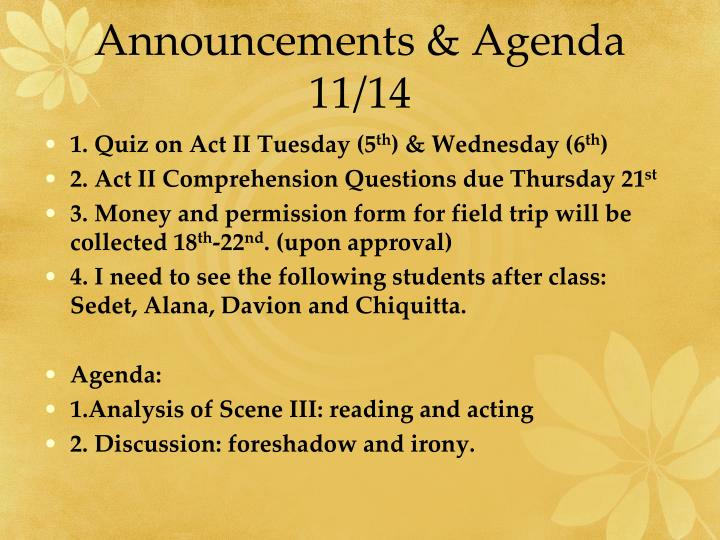 Announcements & Agenda 11/14