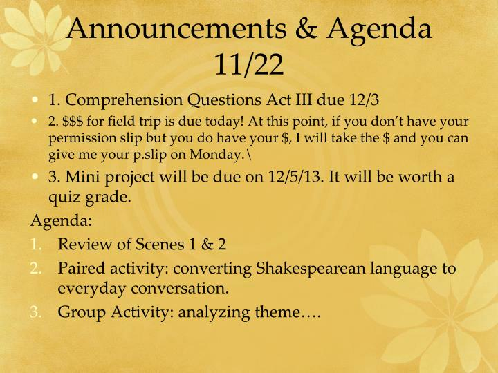 Announcements & Agenda 11/22