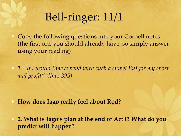 Bell-ringer: 11/1