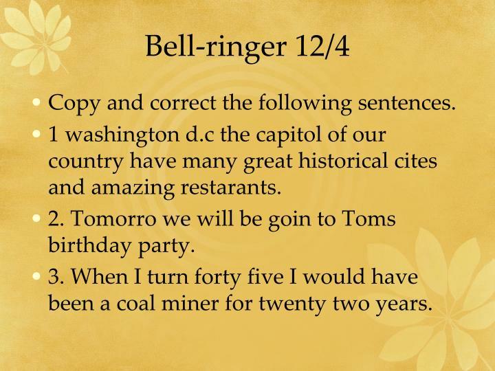 Bell-ringer 12/4