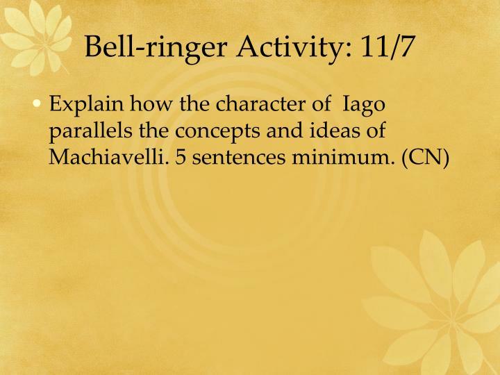 Bell-ringer Activity: 11/7