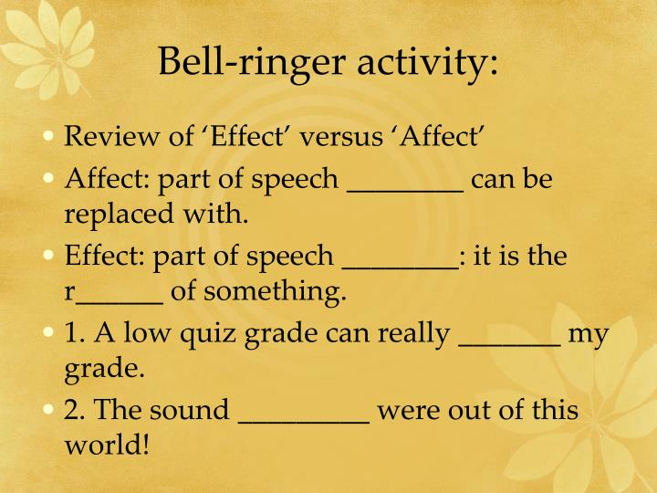 Bell-ringer activity: