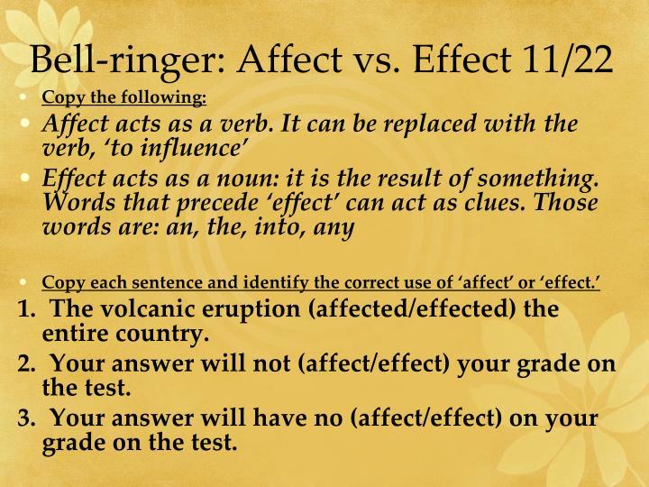 Bell-ringer: Affect vs. Effect 11/22