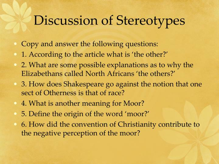 Discussion of Stereotypes