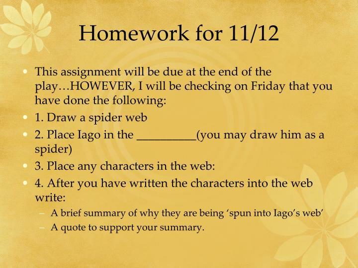Homework for 11/12