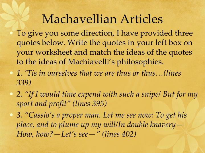 Machavellian Articles