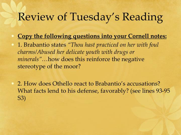 Review of Tuesday's Reading